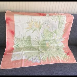 Gucci Floral Parrot Heavy Silk Scarf